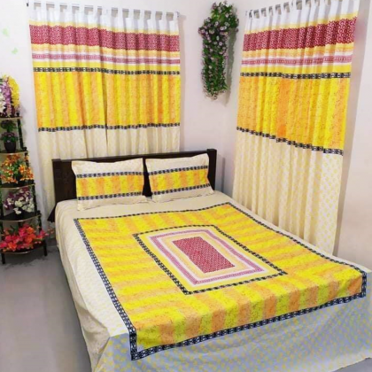 Export quality bedsheet Set with Curtains